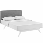 Modway Tracy Queen Upholstered Fabric Wood Bed in White Gray MY-MOD-5766-WHI-GRY