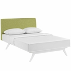 Modway Tracy Queen Upholstered Fabric Wood Bed in White Green MY-MOD-5766-WHI-GRN