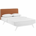 Modway Tracy Queen Upholstered Fabric Wood Bed in White Orange MY-MOD-5766-WHI-ORA