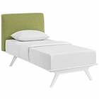 Modway Tracy Twin Upholstered Fabric Wood Bed in White Green MY-MOD-5764-WHI-GRN
