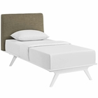 Modway Tracy Twin Upholstered Fabric Wood Bed in White Latte MY-MOD-5764-WHI-LAT