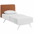 Modway Tracy Twin Upholstered Fabric Wood Bed in White Orange MY-MOD-5764-WHI-ORA