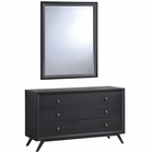 Modway Tracy Upholstered Fabric Wood Dresser and Mirror in Black MY-MOD-5310-BLK-SET