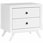 Modway Tracy Upholstered Fabric Wood Nightstand in White MY-MOD-5240-WHI