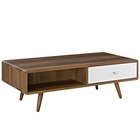 Modway Transmit Coffee Table in Walnut White MY-EEI-2528-WAL-WHI