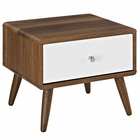 Modway Transmit Nightstand in Walnut White MY-MOD-5731-WAL-WHI