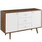 Modway Transmit Sideboard in Walnut White MY-EEI-2531-WAL-WHI-SET