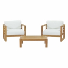 Modway Upland 3 Piece Outdoor Patio Teak Set in Natural White MY-EEI-3114-NAT-WHI-SET
