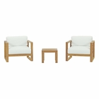 Modway Upland 3 Piece Outdoor Patio Teak Set in Natural White MY-EEI-3119-NAT-WHI-SET