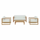 Modway Upland 4 Piece Outdoor Patio Teak Set in Natural White MY-EEI-3116-NAT-WHI-SET