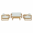 Modway Upland 6 Piece Outdoor Patio Teak Set in Natural White MY-EEI-3118-NAT-WHI-SET