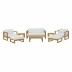 Modway Upland 8 Piece Outdoor Patio Teak Set in Natural White MY-EEI-3117-NAT-WHI-SET