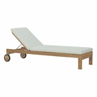 Modway Upland Outdoor Patio Teak Wood Chaise in Natural White MY-EEI-2711-NAT-WHI