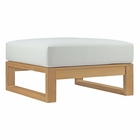 Modway Upland Outdoor Patio Teak Wood Ottoman in Natural White MY-EEI-2708-NAT-WHI