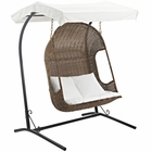 Modway Vantage Outdoor Patio Wicker Rattan Swing Chair With Stand in Brown White MY-EEI-2278-BRN-WHI-SET