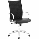 Modway Verge Webbed Back Faux Leather Office Chair in Black MY-EEI-2858-BLK