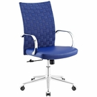 Modway Verge Webbed Back Faux Leather Office Chair in Blue MY-EEI-2858-BLU