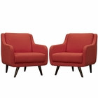 Modway Verve Armchairs Upholstered Fabric Set of 2 in Atomic Red MY-EEI-2446-ATO-SET