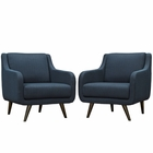 Modway Verve Armchairs Upholstered Fabric Set of 2 in Azure MY-EEI-2446-AZU-SET