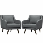 Modway Verve Armchairs Upholstered Fabric Set of 2 in Gray MY-EEI-2446-GRY-SET