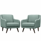 Modway Verve Armchairs Upholstered Fabric Set of 2 in Laguna MY-EEI-2446-LAG-SET