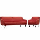 Modway Verve Living Room Furniture Upholstered Fabric 2 Piece Set in Atomic Red MY-EEI-2447-ATO-SET