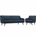 Modway Verve Living Room Furniture Upholstered Fabric 2 Piece Set in Azure MY-EEI-2447-AZU-SET
