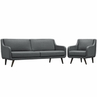Modway Verve Living Room Furniture Upholstered Fabric 2 Piece Set in Gray MY-EEI-2447-GRY-SET