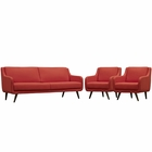 Modway Verve Living Room Furniture Upholstered Fabric 3 Piece Set in Atomic Red MY-EEI-2445-ATO-SET