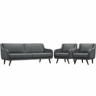 Modway Verve Living Room Furniture Upholstered Fabric 3 Piece Set in Gray MY-EEI-2445-GRY-SET