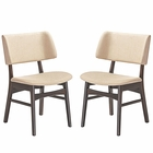 Modway Vestige Dining Side Chair Fabric Set of 2 in Walnut Beige MY-EEI-2024-WAL-BEI-SET