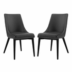 Modway Viscount Dining Side Chairs Faux Leather Set of 2 in Black MY-EEI-2744-BLK-SET