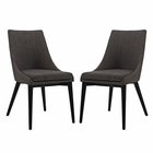 Modway Viscount Dining Side Chairs Upholstered Fabric Set of 2 in Brown MY-EEI-2745-BRN-SET