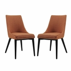Modway Viscount Dining Side Chairs Upholstered Fabric Set of 2 in Orange MY-EEI-2745-ORA-SET