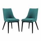 Modway Viscount Dining Side Chairs Upholstered Fabric Set of 2 in Teal MY-EEI-2745-TEA-SET
