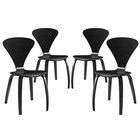 Modway Vortex Dining Side Chairs Set of 4 in Black Set MY-EEI-2000-BLK-SET