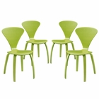 Modway Vortex Dining Side Chairs Set of 4 in Green MY-EEI-2000-GRN-SET