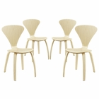 Modway Vortex Dining Side Chairs Set of 4 in Natural MY-EEI-2000-NAT-SET