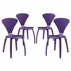 Modway Vortex Dining Side Chairs Set of 4 in Purple MY-EEI-2000-PRP-SET