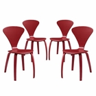 Modway Vortex Dining Side Chairs Set of 4 in Red MY-EEI-2000-RED-SET