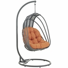 Modway Whisk Outdoor Patio Swing Chair With Stand in Orange MY-EEI-2275-ORA-SET