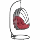 Modway Whisk Outdoor Patio Swing Chair With Stand in Red MY-EEI-2275-RED-SET
