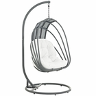 Modway Whisk Outdoor Patio Swing Chair With Stand in White MY-EEI-2275-WHI-SET