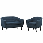 Modway Wit 2 Piece Upholstered Fabric Living Room Set in Azure MY-EEI-1770-AZU-SET