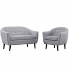 Modway Wit 2 Piece Upholstered Fabric Living Room Set in Light Gray MY-EEI-1770-LGR-SET