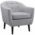 Modway Wit Upholstered Fabric Armchair in Light Gray MY-EEI-1389-LGR