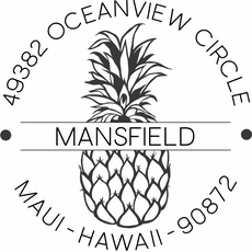 Name and Address Round Stamp - The Pineapple