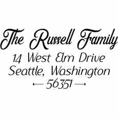 Family Name Return Address Stamp - The Russell