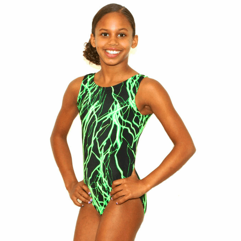 Electrifying Neon Gymnastics Leotard