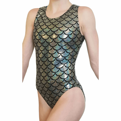 Silver Mermaid Gymnastic Leotard for Girls